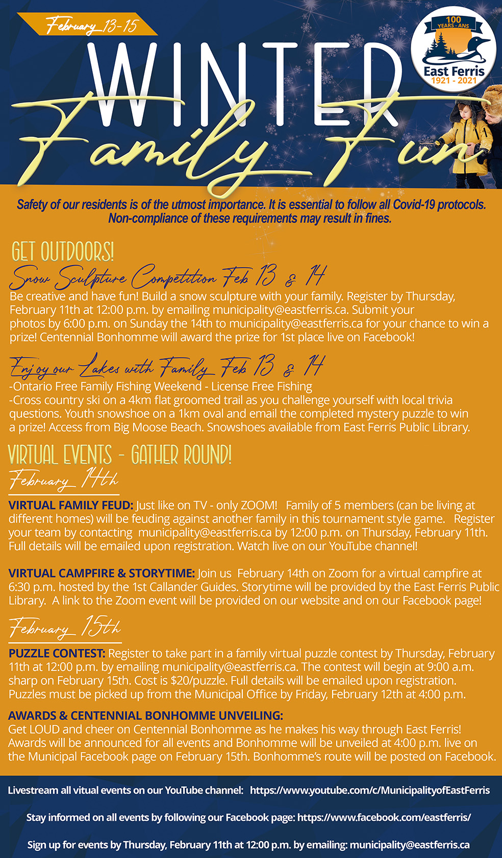 Centennial flyer of events February 2021